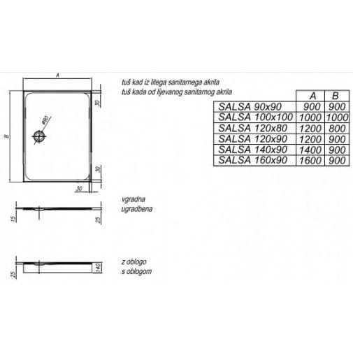 Anzotherm - Kolpa San - Salsa 140x90 Beépíthető Négyszögletű Zuhanytálca - Zuhanyok - Szaniter