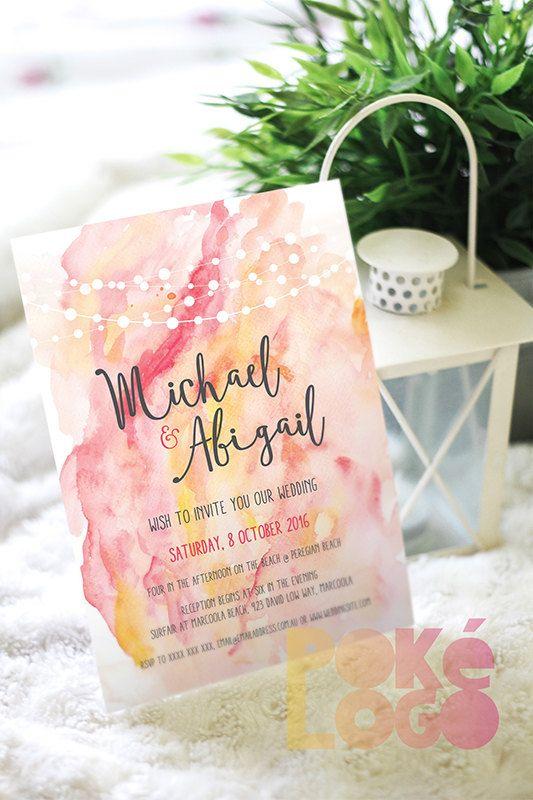 Watercolor wedding invitation set coral pink yellow by PokeLogo