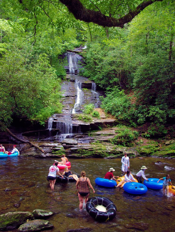Tubing down Deep Creek in the Great Smoky Mountains in North Carolina