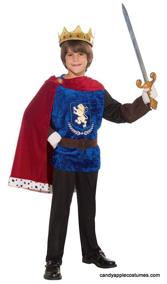 Child's Prince Charming Costume - Candy Apple Costumes - Kids' Deluxe Costumes....This child size prince or king costume includes blue royal tunic with attached red cape, and belt. Prince costume is great for parades, school plays, and recitals. Sword, crown, pants and shoes not included