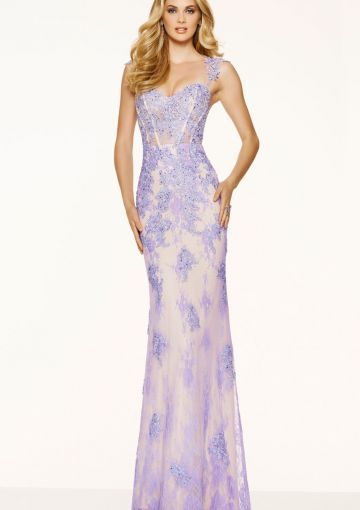 Cheap and Australia 2016 Lilac Sheath Straps Beaded Appliques Lace Floor Length Evening Dress/ Prom Dresses 98085 from Dresses4Australia.com.au