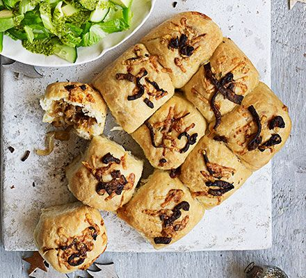 These tasty white bread rolls are filled with cheese and onion - let everyone help themselves as part of a buffet