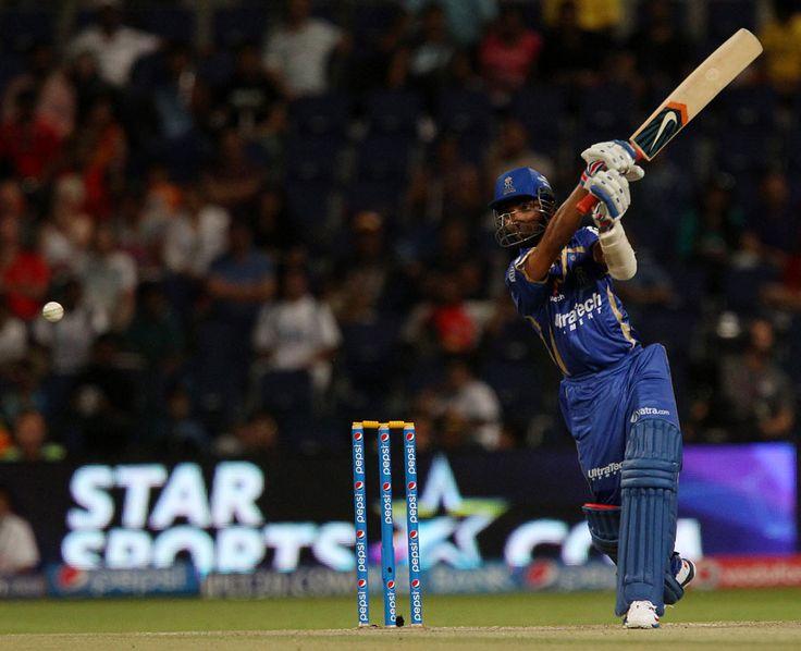 Ajinkya Rahane hits through the off side