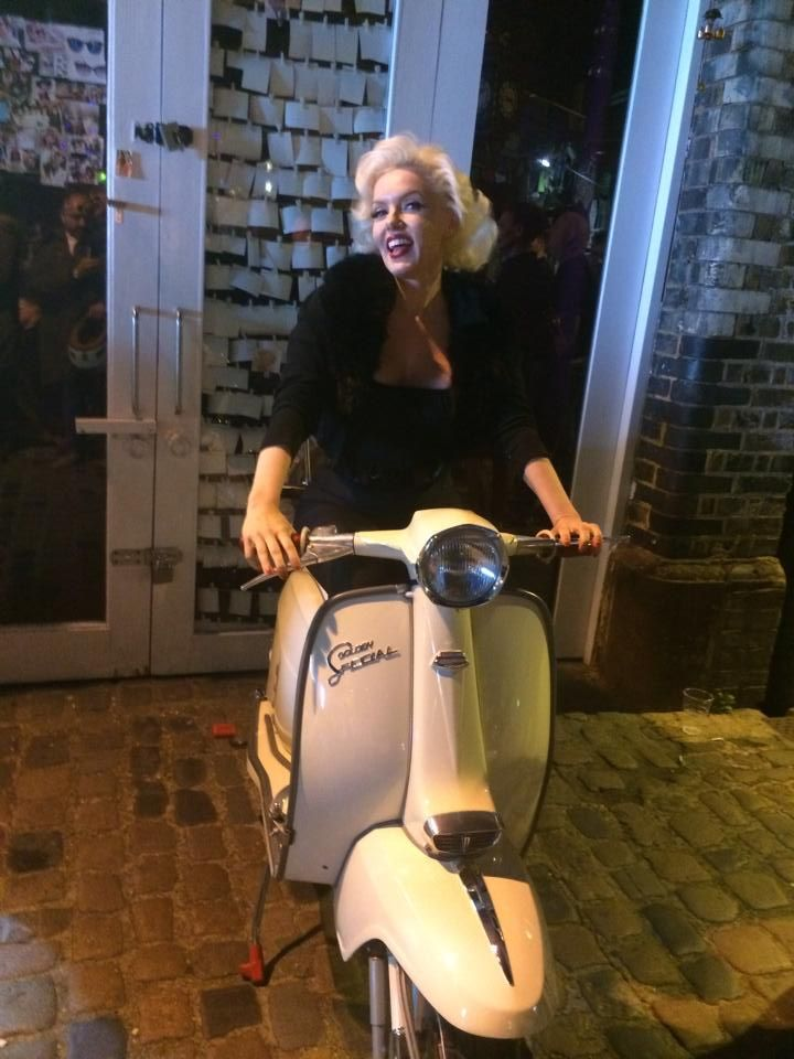 Marilyn Monroe look-a-like on Lambretta