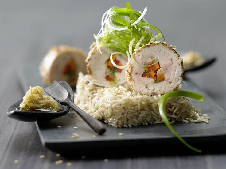 Hähnchenrouladen - mit Gemüse und Sesam - smarter - Kalorien: 597 Kcal - Zeit: 50 Min. | eatsmarter.de
