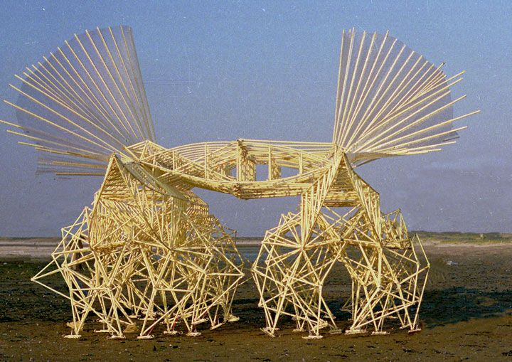 Kinetic creatures move in a autonomous way in the only force of winds. By Theo Jansen is a physicist.