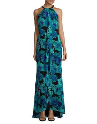 9ab812ca4db Calvin Klein - Floral-Print Halterneck Maxi Dress - lordandtaylor ...