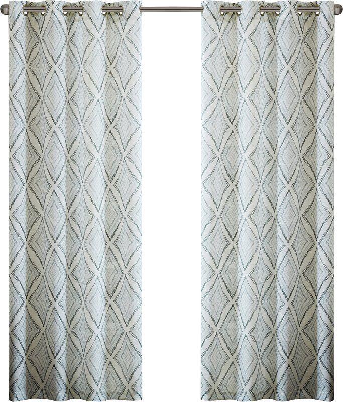Bas Printed Etched Diamond Single Curtain Panel Curtains Panel Curtains Drapes Curtains