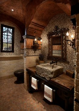 Mediterranean Bathroom Design. I like everything except the boulder style sink, and I would prefer glass mosaic wall tiles in the same colors but with an iridescent glaze on them.