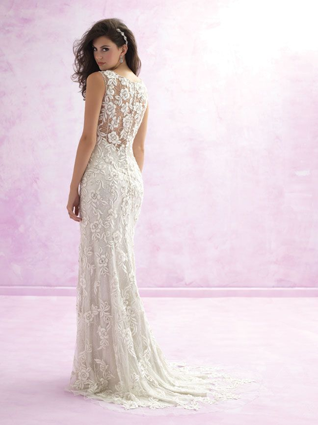 Madison James MJ107 - A crochet-style floral design adds bohemian flair to this sleeveless sheath gown.  A crochet-style floral design adds bohemian flair to this sleeveless sheath gown. Vintage Style Bridal Gowns | Brides of Melbourne