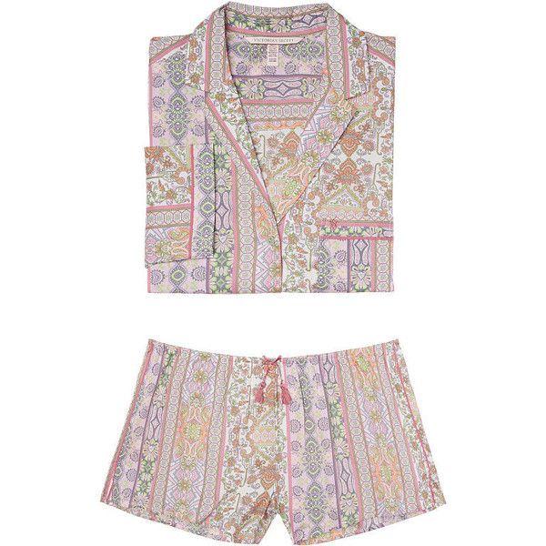 The Mayfair Boxer Pajama ($68) ❤ liked on Polyvore featuring intimates, sleepwear, pajamas, victoria secret sleepwear, victoria secret pjs, victoria secret pyjamas, victoria's secret and short boxer