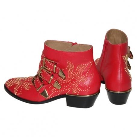 Envie de me raboter les pieds ! Red Suzanna Boots CHLOE Size 35 IT £577 Vestiaire Collective