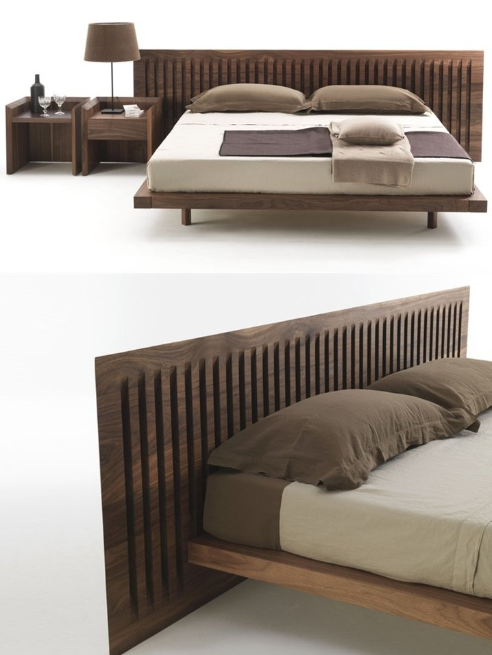 Wooden double #bed SOFTWOOD by Riva 1920 | #design Carlo Colombo #bedroom #wood @Riva Industria Mobili
