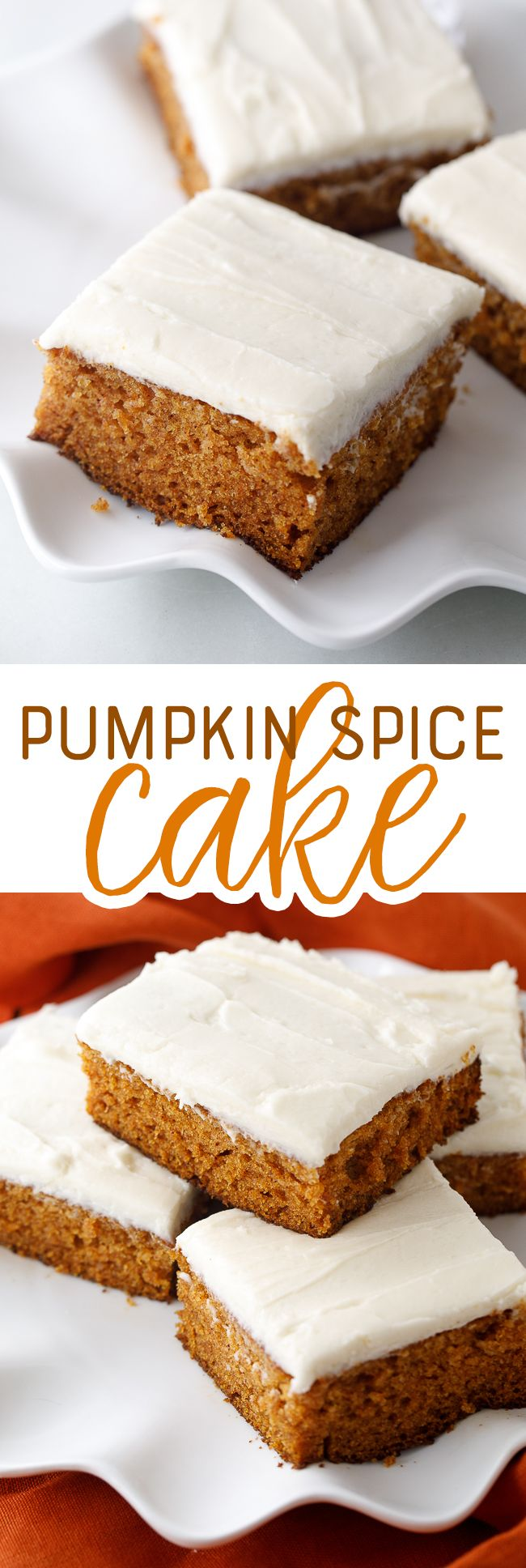 This pumpkin cake is loaded with pumpkin spice flavor, which pairs really nicely with the its sweet cream cheese frosting.