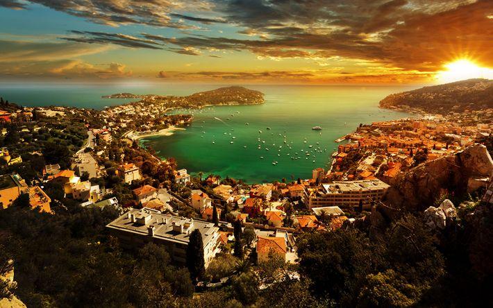Descargar fondos de pantalla Mónaco, 4k, puesta de sol, puerto, panorámico, Riviera francesa, Europa