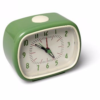 Bakelite Alarm Clock – Green: These bakelite retro alarm clocks are great. They have glow in the dark hands and require a single AA battery.