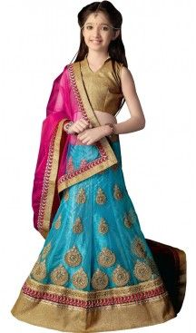 Sky Blue Color Net A Line Lehenga Kids Lehenga Cholis online | 384063057 #girls , #kids , #readymade , #lehenga , #babys , #teenagers , #wedding , #fashion , #boutique , #shopping , #style #heenastyle , #clothing , #dresses , @heenastyle , #online , #asian , #indian , #fashion , #henna , #dress