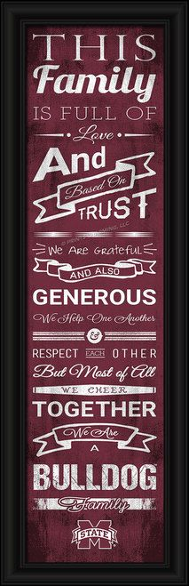 """Mississippi State Bulldogs Family Cheer Print 8""""""""x24"""""""" Z157-4865504778"""