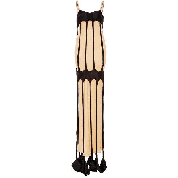 Maison Margiela Decortique Long Harness Dress (€1.965) ❤ liked on Polyvore featuring dresses, long dresses, sheath dress, v-neck dresses, beige sheath dress and beige long dress