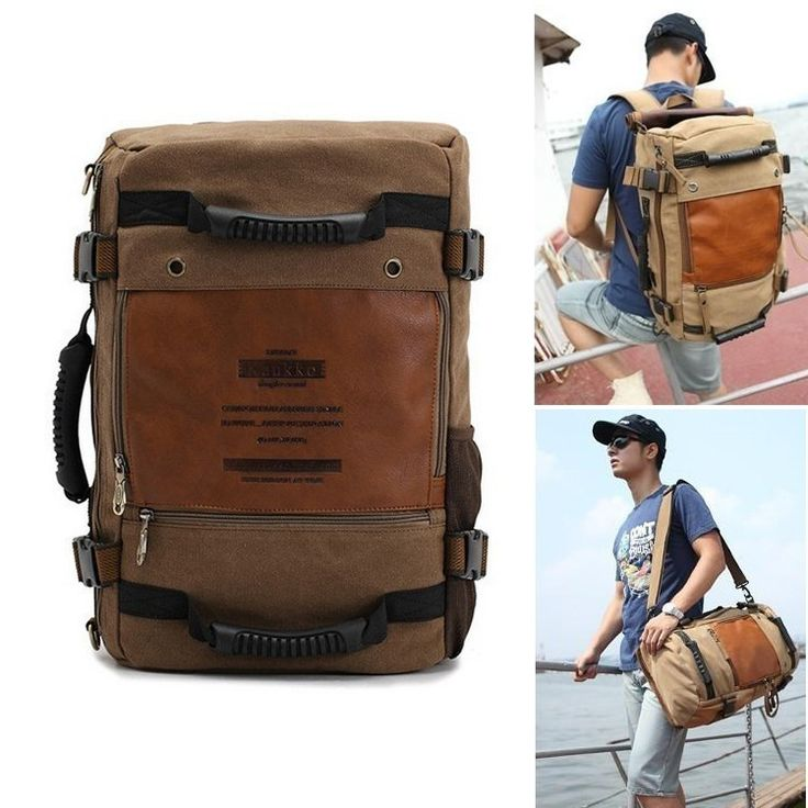 Men's Vintage Canvas backpack Rucksack laptop shoulder bag travel Camping bag | eBay