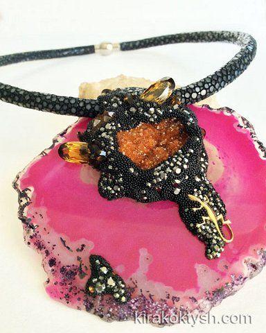 "Kira Koktysh Jewelry  Necklace «Mistress of Copper Mountain"" (Materials: Genuine Polished Stingray Skin Necklace black, Agate slice, Citrine Cluster, Swarovski crystals, ) http://www.fromrussia.com/fashion-jewelry"