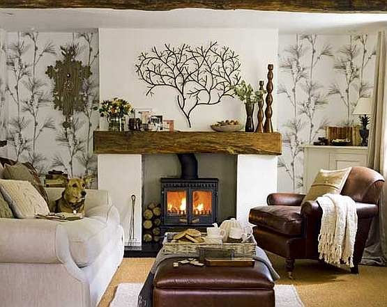 I love the tree decorations on the mantle and walls. However, the wood next to the stove is dangerous. There should never be combustibles next to a stove!