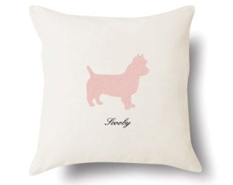 Personalized Australian Terrier Pillow - Off White Flax Linen - 18x18 - Name or Text Embroidered - Pet Silhouette Appliqué Pillow