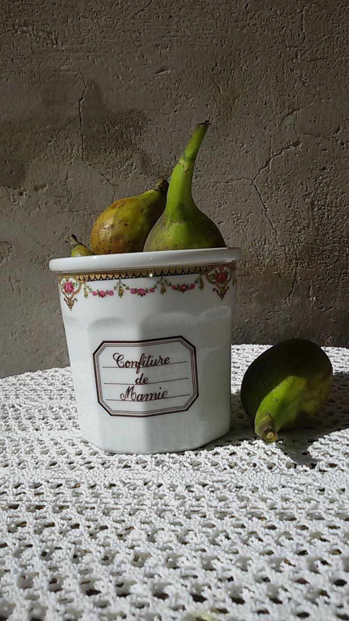 Pot à confiture porcelaine décor guirlande de fleurs / Français / Porcelaine jam jar de la boutique ChezOdileBrocante sur Etsy