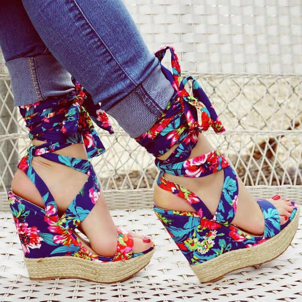 Womens Ladies Wedge Heel Open Toe Sneakers Lace Up High Top New Boots Buckle Hot
