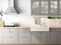 Kitchen & Kitchen Accessories | IKEA Kitchen inspiration. love soft gray painted cabinets and white subway backsplash with ikea butcher block counters