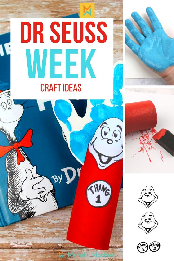 fun and easy dr. seuss' cat in the hat crafts - thing 1 and thing 2