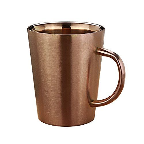 Stainless Steel Cup - 10 Oz / 300ML Double Walled Insulated Mug for Drinking Tea, Coffee,Beer,Latte, Espresso, Juice or Water (Rose Gold) #Stainless #Steel #Double #Walled #Insulated #Drinking #Tea, #Coffee,Beer,Latte, #Espresso, #Juice #Water #(Rose #Gold)