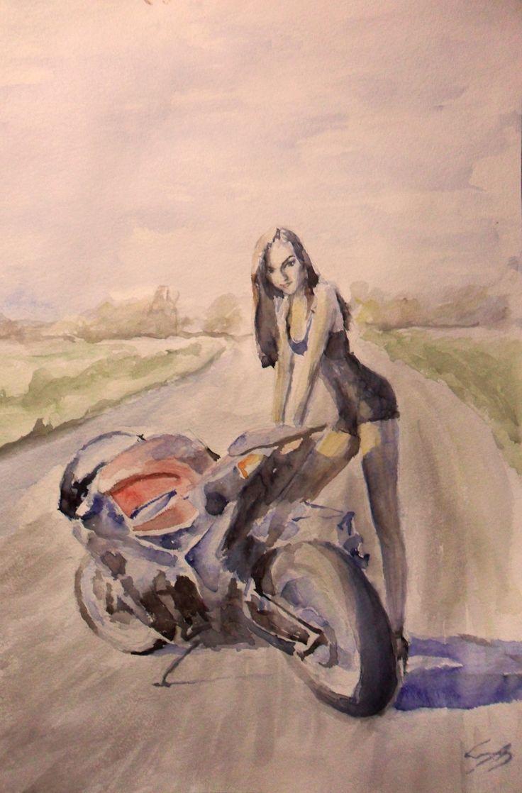 #watercolor, #sportbike, #girl, #motorcycle