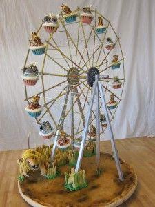 So cool!  Ferris wheel cupcake holder!