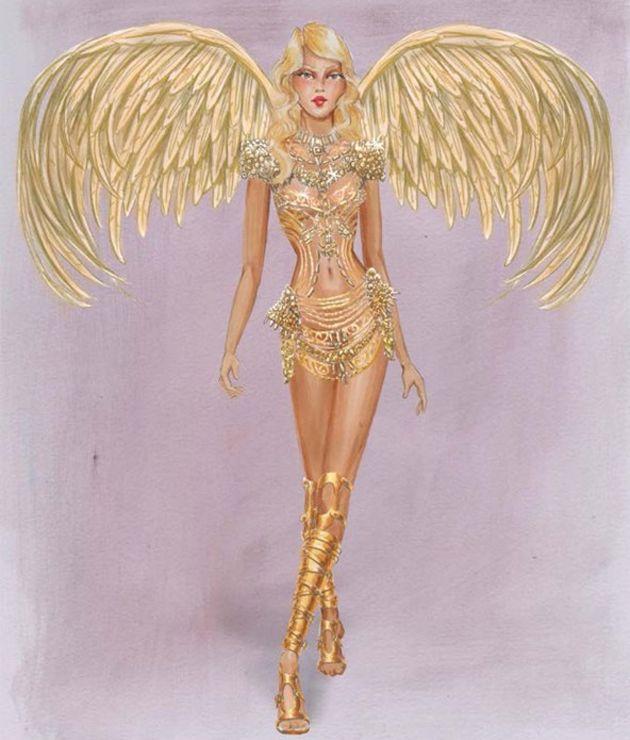 Os looks são divididos em temas: esse dourado é do Gilded Angels