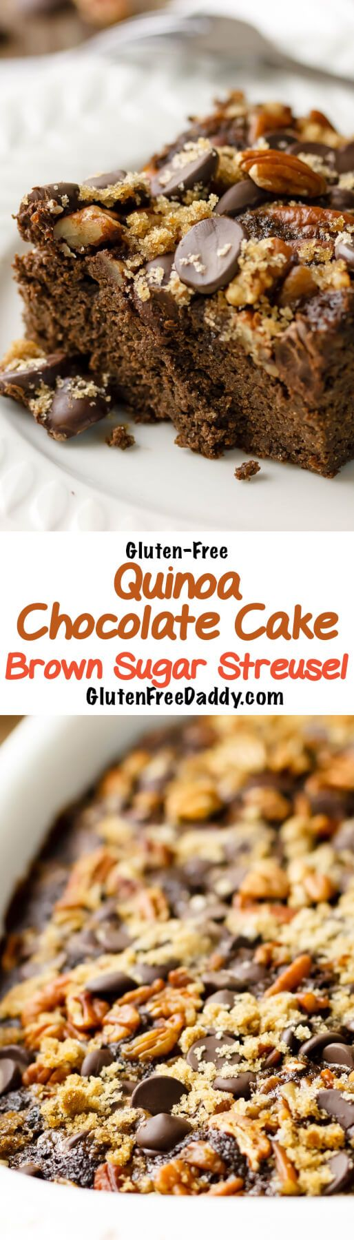 I love how this gluten-free chocolate cake is moist from the zucchini and healthy from the quinoa flour. The brown sugar streusel topping is to die for!