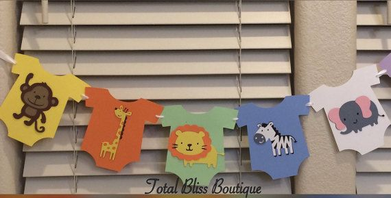 10 Pc Safari Theme Baby Shower Banner Jungle by TotalBlissBoutique