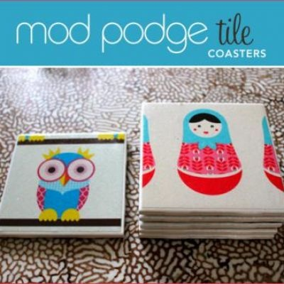 DIY:  Modge Podge Tile Coasters,,,,,an inexpensive tile, a picture, and modge podge is all you need.