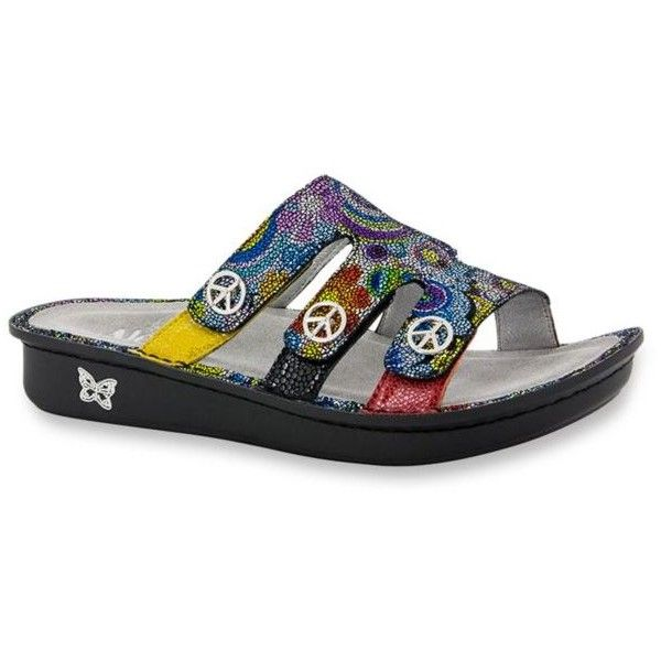 Alegria By Pg Lite Hippie Chic Venice Slide Sandal - Women's ($99) ❤ liked on Polyvore featuring shoes, sandals, hippie chic, leather shoes, slide sandals, rocker shoes, buckle slide sandals and hippy sandals
