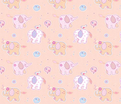Elephant Party Parade Pink fabric by nossisel on Spoonflower - custom fabric