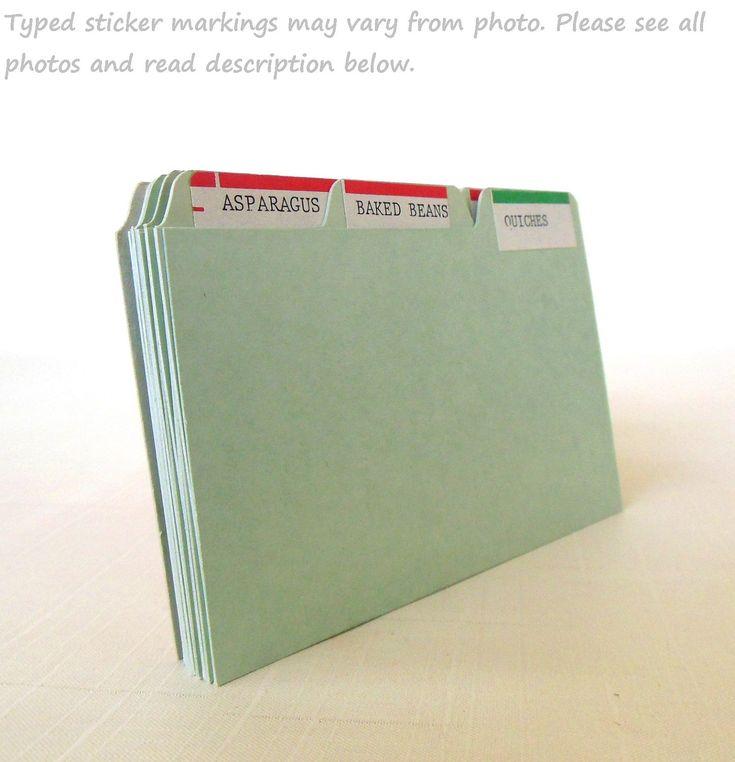 Recipe Card Dividers Organizers For 3 X 5 Recipe File Box