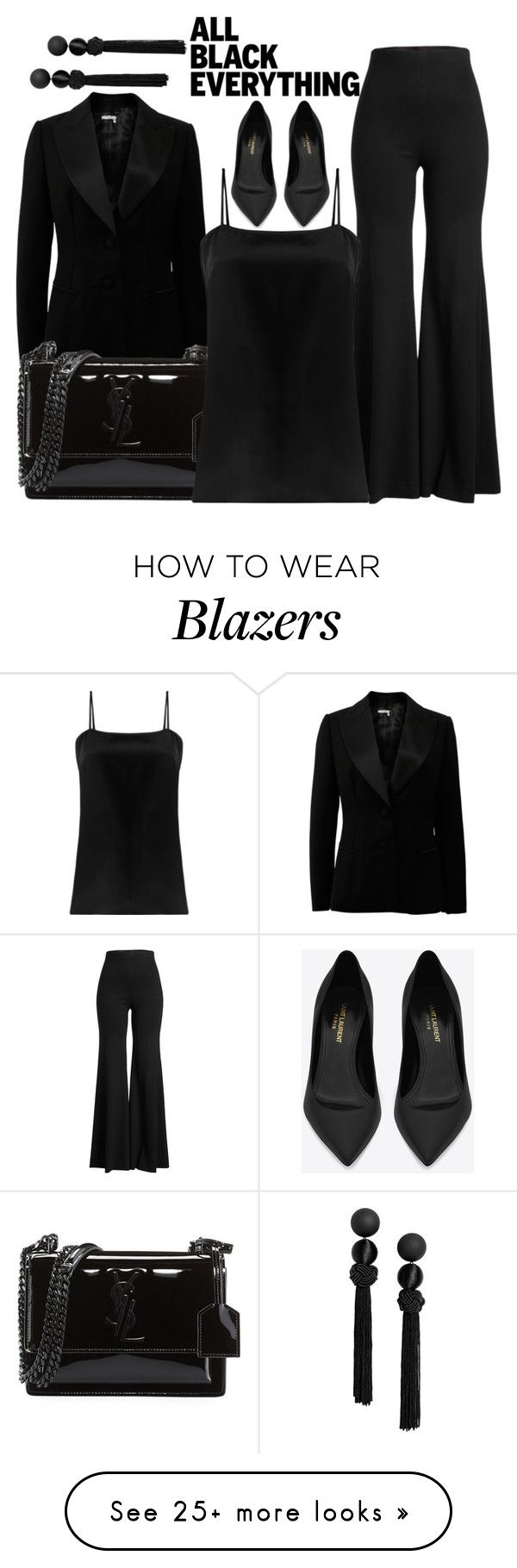 """Black Is Awesome"" by poppyxooo on Polyvore featuring Lanvin, Rosetta Getty, Yves Saint Laurent, Racil and allblackoutfit"
