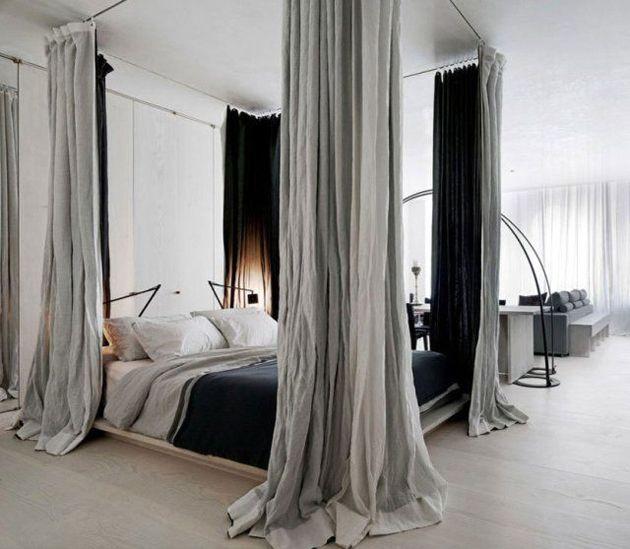 En éste caso las cortinas se han dispuesto a modo de dosel dando intimidad a la zona de descanso .Fuente: interiorcollective.com