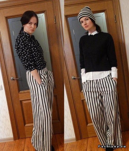 Полосатые брюки образы для весны и зимы)