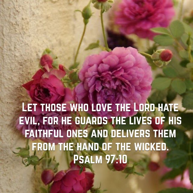 "Psalm 97:10 ""Let those who love the Lord hate evil..."""