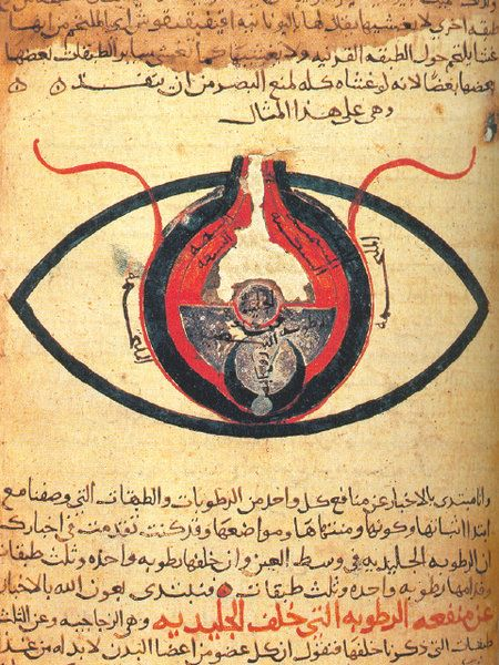 An Arabic manuscript, dated 1200 CE, titled Anatomy of the Eye, authored by al-Mutadibih.