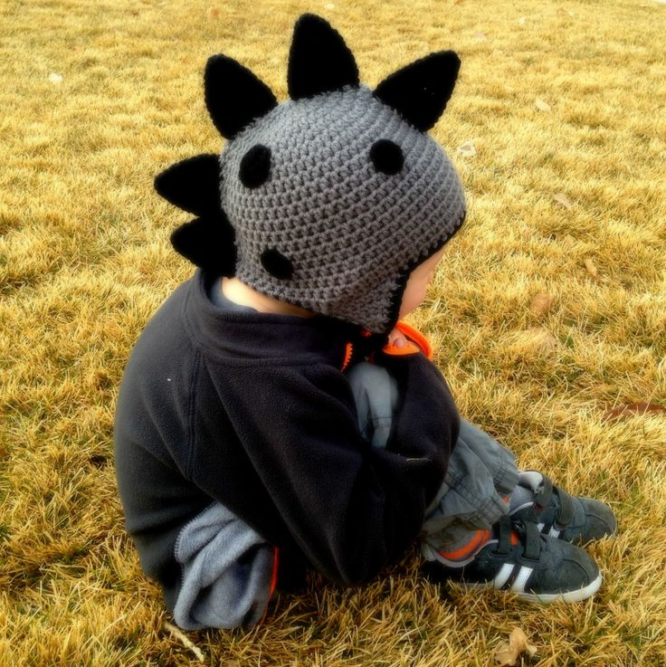 Dinosaur Hat, Gray and Black, Crochet Dinosaur Hat, Boy hat, Photo Prop, Earflap Hat by PinkLemonKnits on Etsy