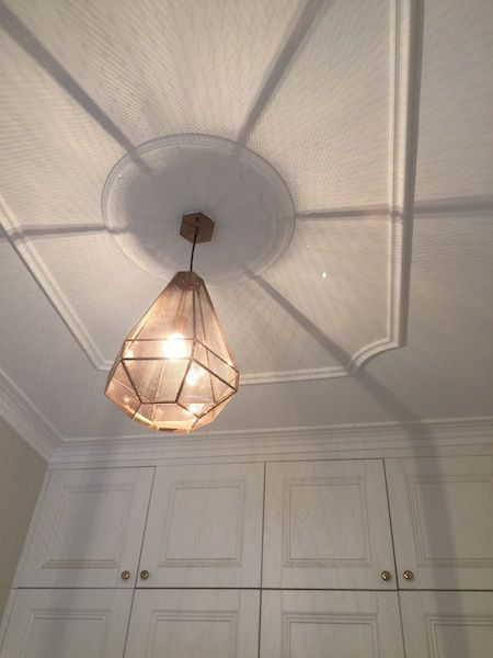 """10 Ways to Make an Old Room New Again"" #8 Add New Light Fittings. (Ceiling Rose, Beautiful ceiling, Plaster Ceiling Rose, Beacon Lighting, Brass Light, Beautiful Pedant Light, Bedroom Light)."