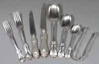 A matched suite of Victorian silver flatware comprising 7 table  spoons,10 table forks, 11 pudding forks, 9  pudding spoons, mustard spoon, 12 tea  spoons & tongs, 91 ozs, a matching  silver handled table knife and 12 silver handled  table knives & 12 silver handled tea knives SOLD FOR £1000