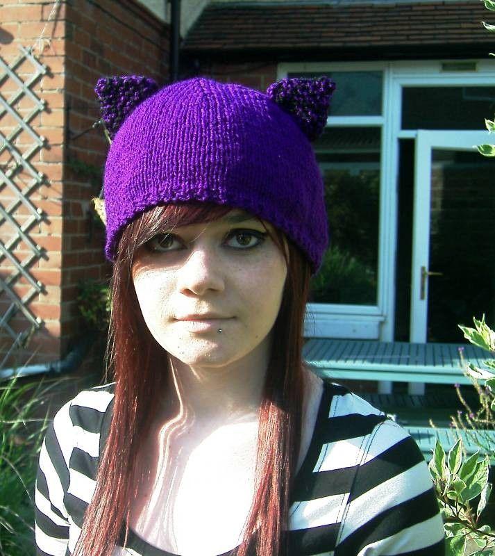 Knit Cat Hat,  Knitted Purple Kitty Cat Hat by thekittensmittensuk on Etsy